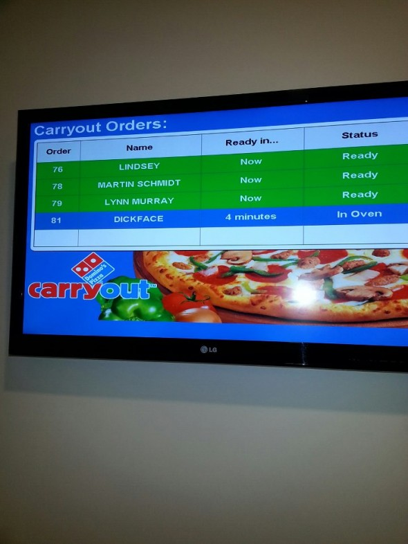 Pledge was ordering Domino's. TFM.