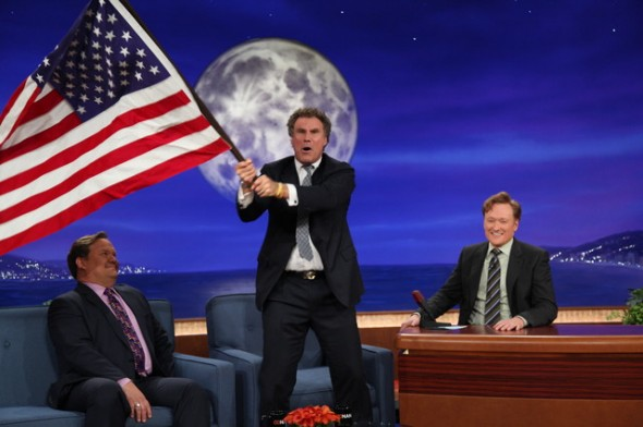 "Will Ferrell yelling ""Russia sucks!"" and waving the stars and stripes on live TV. TFM."