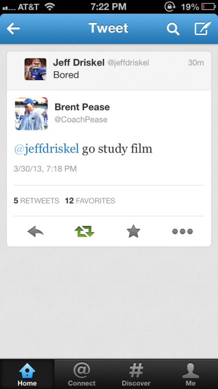 Florida offensive coordinator Brent Pease calling his QB out. TFM.