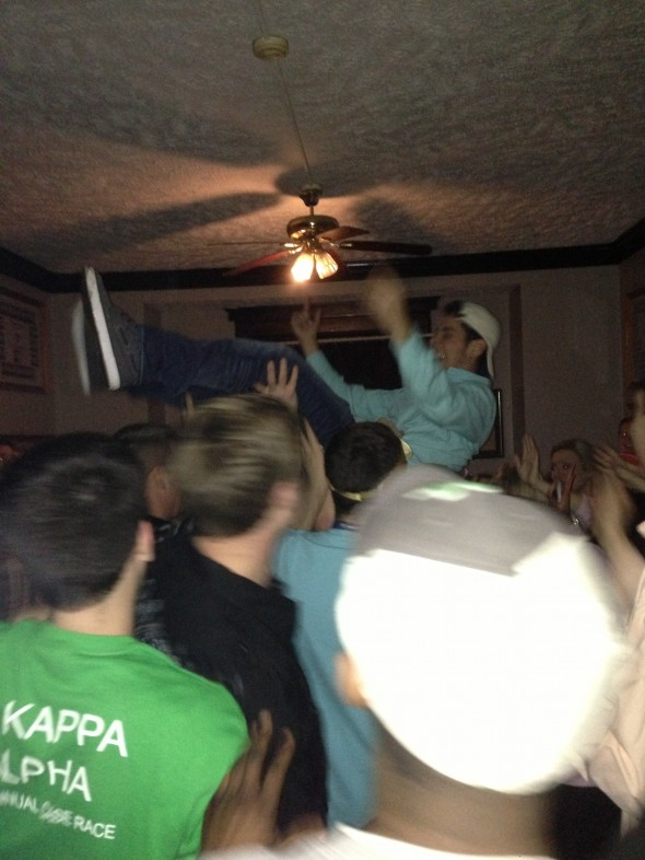 Crowd surfing indoors. TFM.
