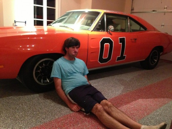 Dufnering on his General Lee. TFM.