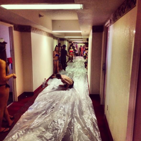 Hallway long slip 'n slide. TFM.