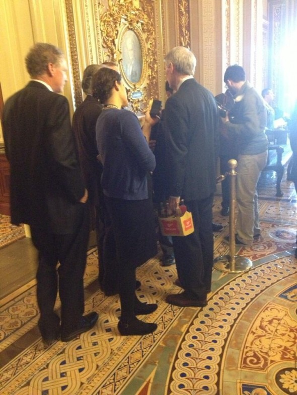 Ohio Senator Rob Portman randomly carrying around Miller High Life. TFTC.