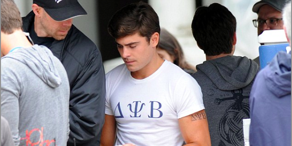 Zac Efron Shows Off Mid-Bicep Frat Tat (Photos)
