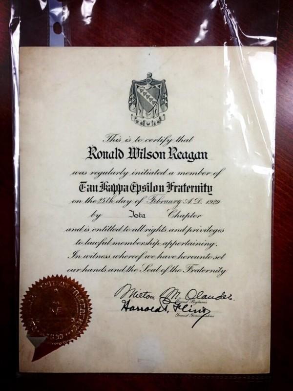 Reagan's membership certificate. TFM.