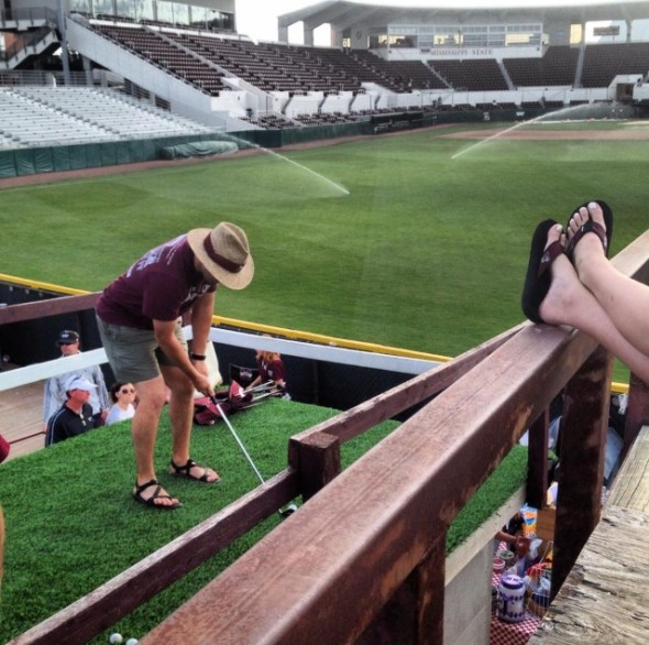 Practicing your golf game from the Right Field Lounge at Dudy Noble Field. TFM.
