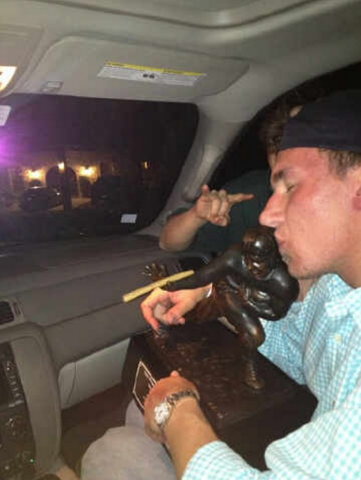 Celebrating 420 with your Heisman Trophy. TFM.