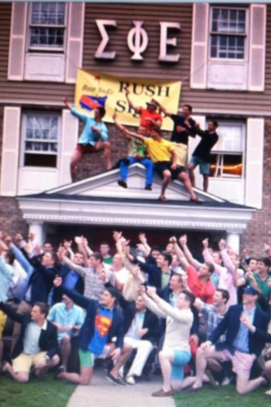 Flicking off our loser neighbors Delta Chi. TFM.