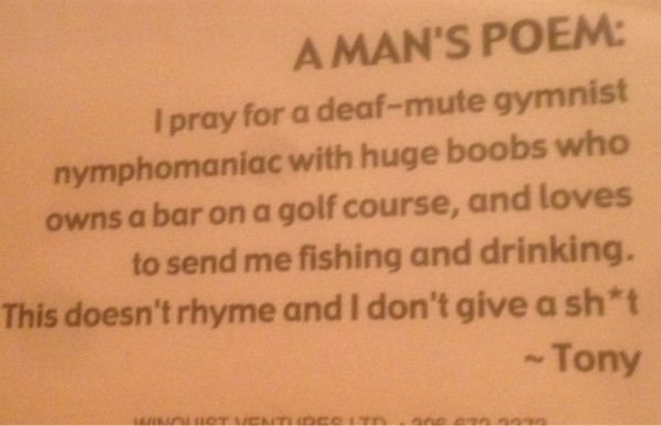 A Man's Poem. TFM.