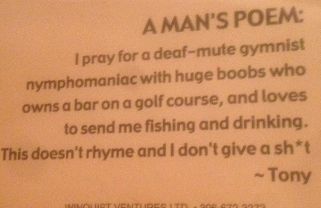A Man's Poem. TFM.
