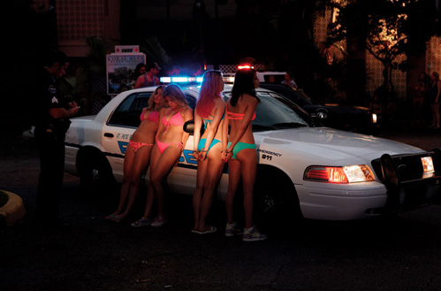 Not letting them put their clothes on before arresting them. TFM.