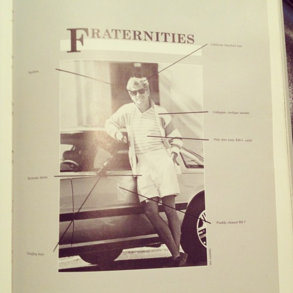 The anatomy of a fratstar circa 1985 year book. TFM.