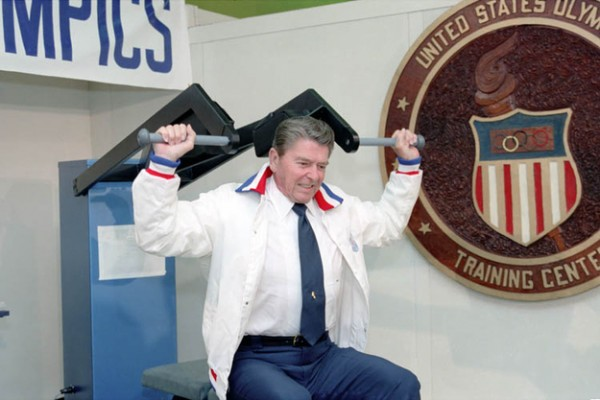 Ronald Reagan trying out for the Olympics at age 82. TFM.