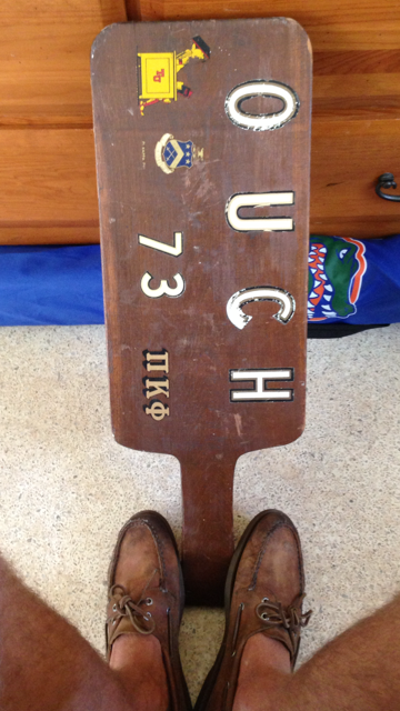 The old man's hazing paddle from the seventies. TFM.