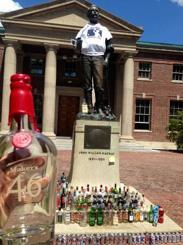 The Tradition is to sacrifice an empty bottle to the statue before finals. Keeping the tradition alive with a bottle of Makers 46. TFM.