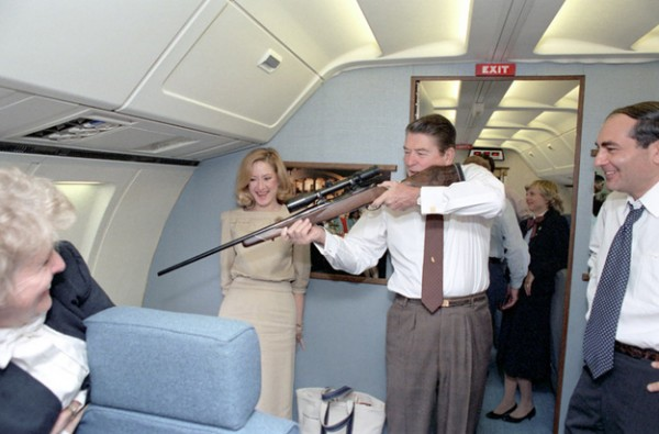 Reagan doing a fly-by shooting. TFM.