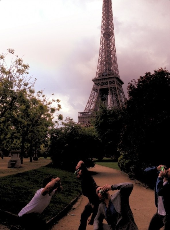 Shotgunning beers in front of the Eiffel Tower on Memorial Day Weekend after a trip to Normandy. TFM.