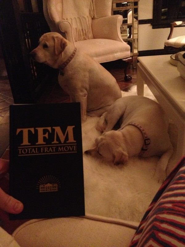 "Nothing says ""America"" like reading TFM with my two yellow labs laying on a rug made out of real polar bear fur. TFM."