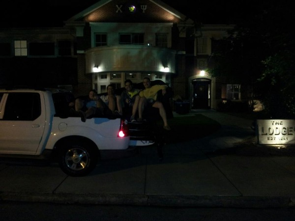 """Should we strap it down?"" ""Nah we'll just sit on it."" TFM."