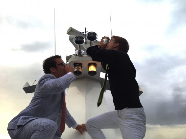 Shotgunning on the radio tower of a 100 foot yacht. TFM.