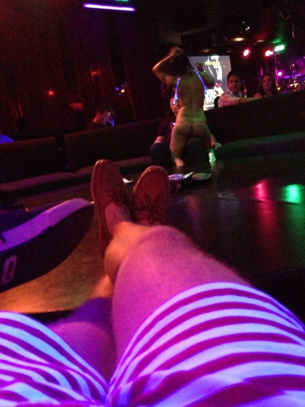 Rocking American flag shorts at the strip club. TFM.