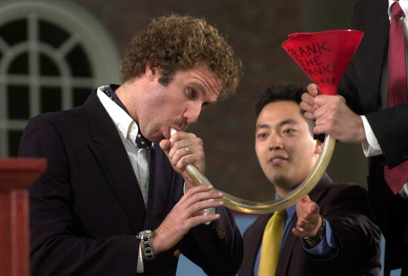 "Frank ""The Tank"" Ricard bonging a beer after giving the Harvard commencement speech. TFM."