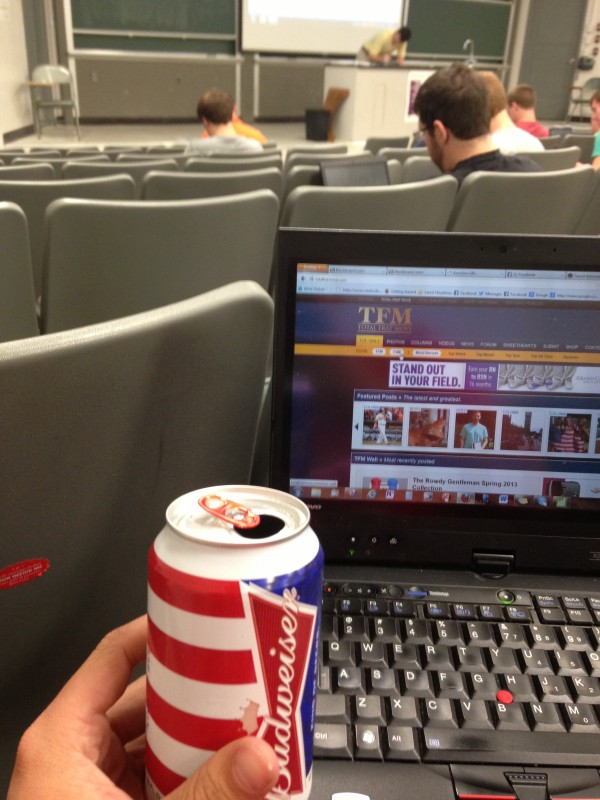 Crackin' a beer to let the professor know it's time to wrap it up. TFM.
