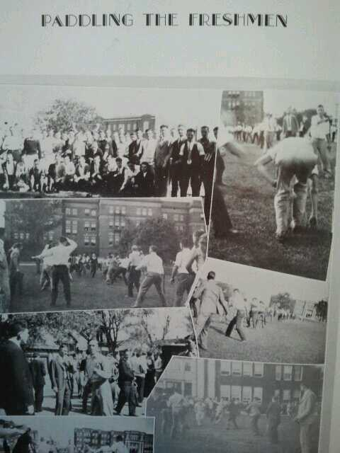 Paddling the freshmen in 1930. TFM.