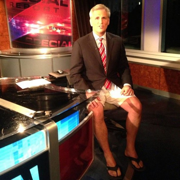 Congressman Kevin McCarthy doing a Fox News interview in shorts and sandals. TFM.