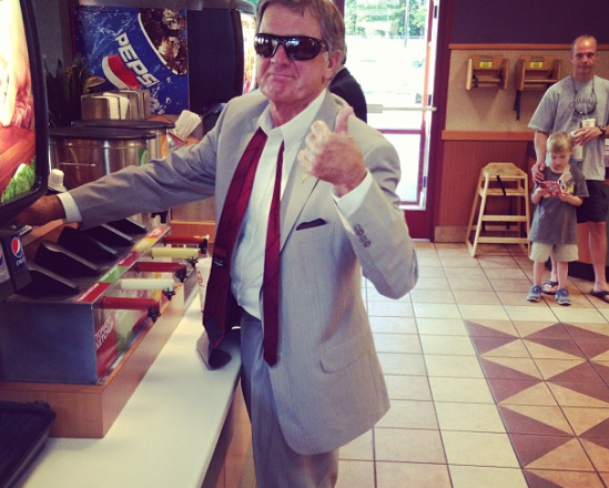 Steve Spurrier getting Arby's after SEC Media Day. TFM.