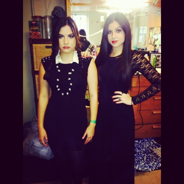 Morticia and Wednesday Addams.