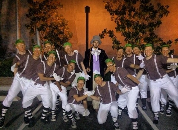 Willy Wonka and his oompa loompas.