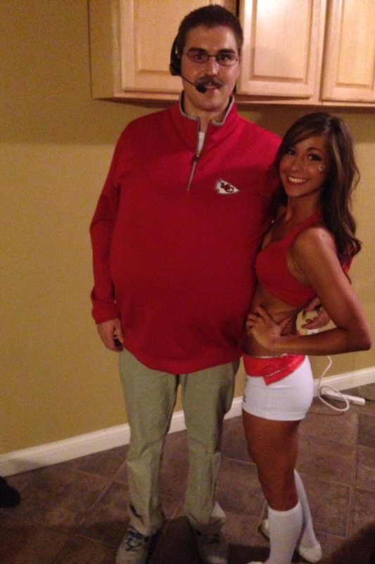 Andy Reid and his hot Chiefs Cheerleader.