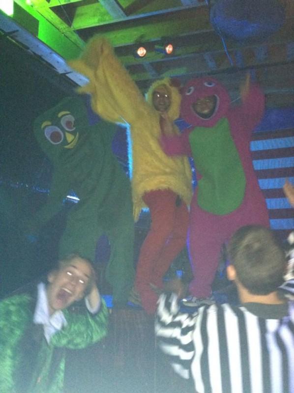 Gumby, Big Bird, and Barney walk into a bar...