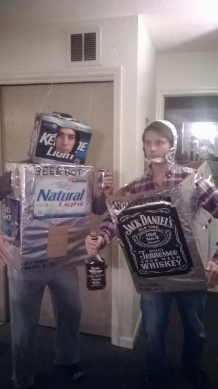 The Alchobots: Beerbot and Whiskeytron.