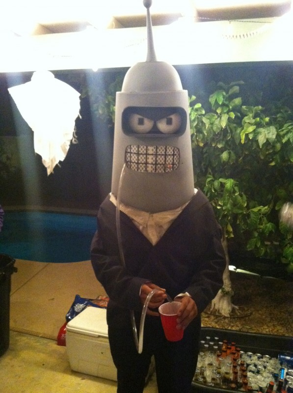 Bender the pledge butler, enjoying his pre-party drink.