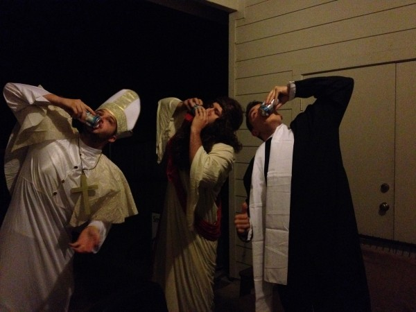 The pope, Jesus and a priest walk into a bar.