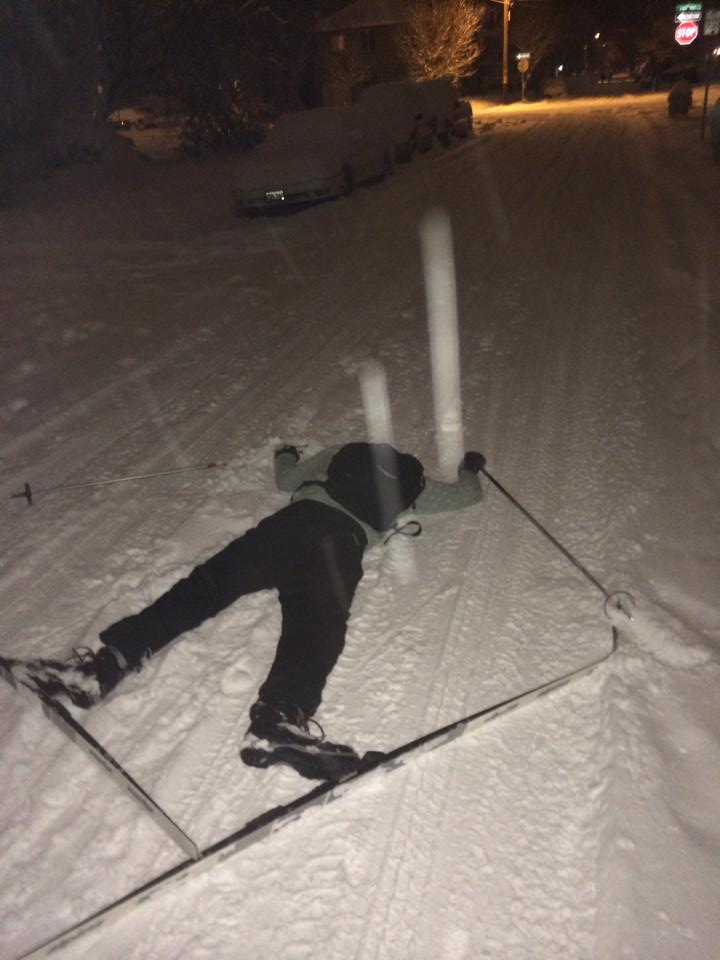 Man down in snow town.