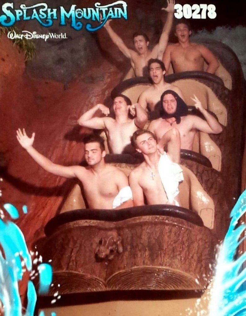 Shirtless Splash Mountain.