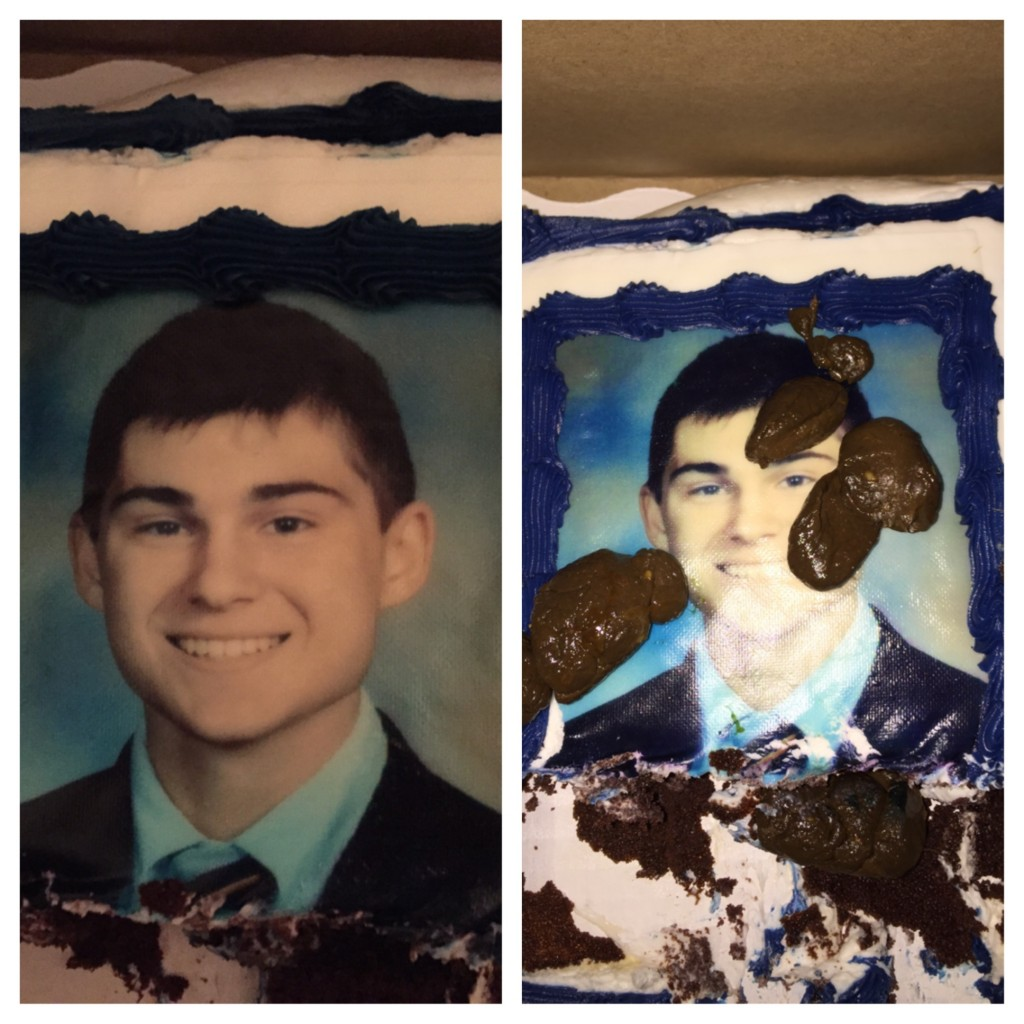His mom sent him a cake. They pooped on it.