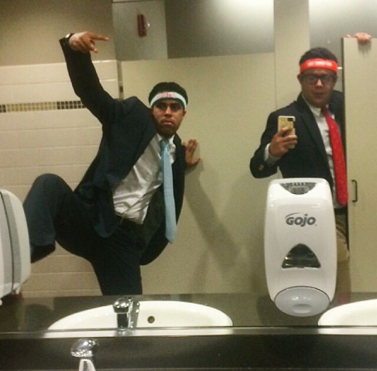 Swagging out in the bathroom with your boy. TFM.