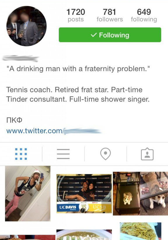 Possibly the worst Instagram bio ever.
