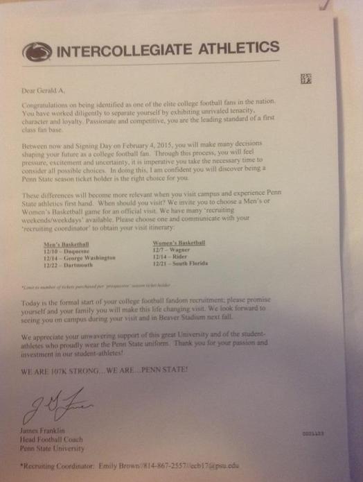 Penn State Sent Sandusky A Season Ticket Renewal Letter