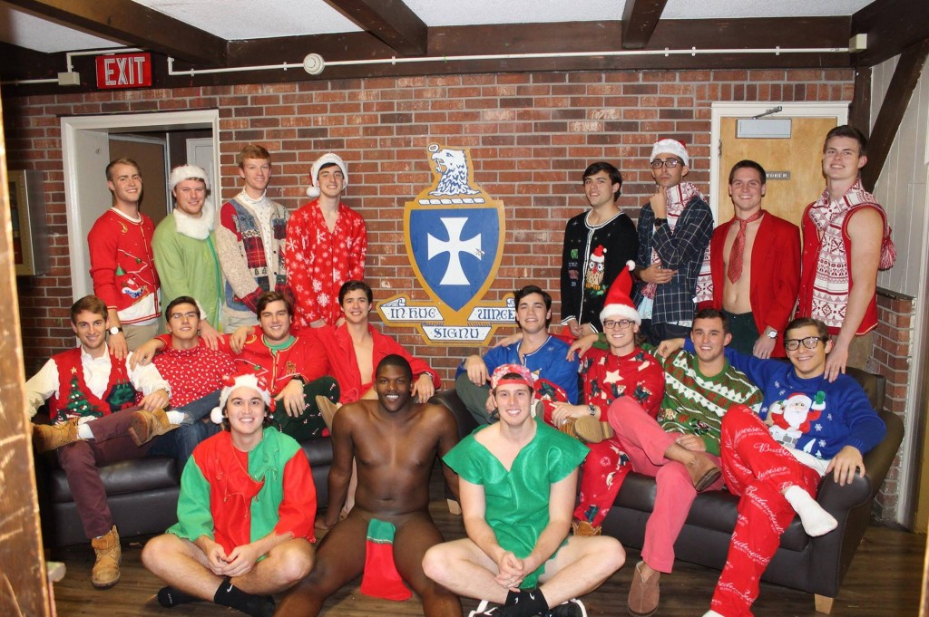 If your fraternity Christmas card doesn't include at least one guy wearing nothing but a stocking on his frock, what's the point?