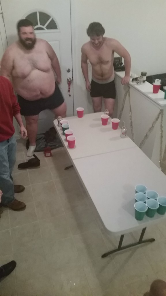 Possibly the worst game of beer pong that has ever taken place.
