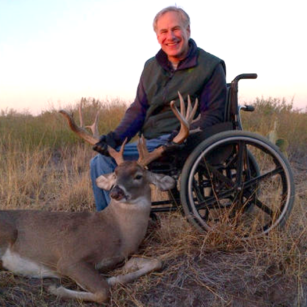 Greg Abbott not letting his disability stop him from hunting. TFM.