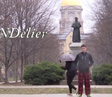 "Notre Dame Student, Presumed Stoned, Performs Live Reenactment Of ""Chandelier"" Music Video All Over Campus"