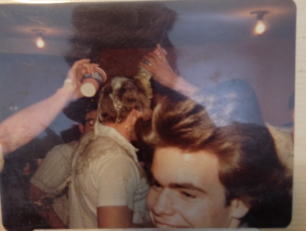 Dumping beer on pledges circa 1970. TFM.
