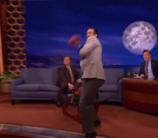 Drew Brees Tosses Inflated Balls Into Conan's Crowd, Takes Out Studio Light