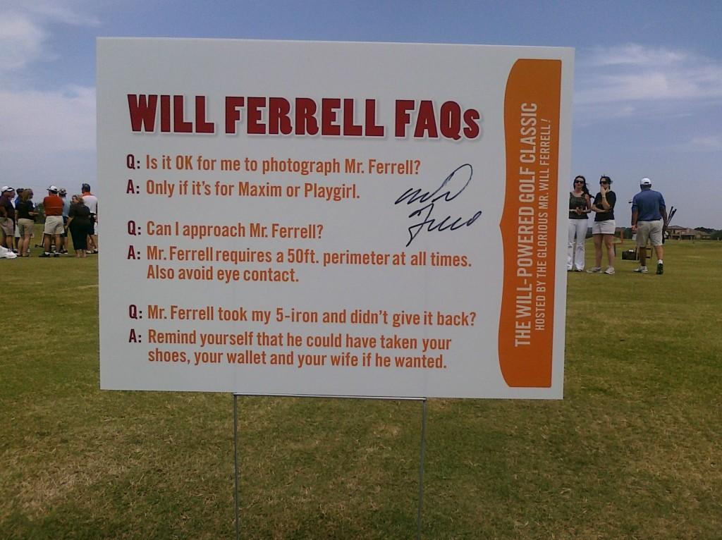 Will Farrell's charity golf tournament rules. TFM.